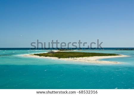 A beautiful tropical island in the Caribbean between the Florida Keys and Cuba