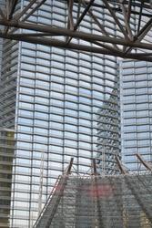 A beautiful vertical shot of Aria Hotel, Las Vegas at daytime