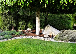 A beautiful view a of garden landscape consisting of a green grass lawn area and flowerbed bordered with rocks and planted in shrubs and tree
