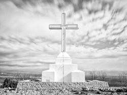 A beautiful view from the top of the Cross mountain, above Medjugorje, with the cross sculpture