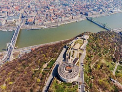 A beautiful view from the top of the day at the citadel on Gellert Mountain. Top view of Budapest and the Danube. Hungary.