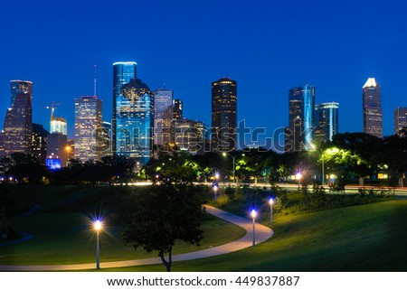 A beautiful view of downtown Houston at night