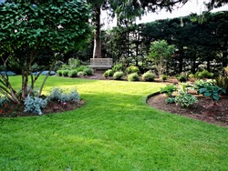 A beautiful view of manicured formal garden landscape design with green lawn and planted areas including park bench