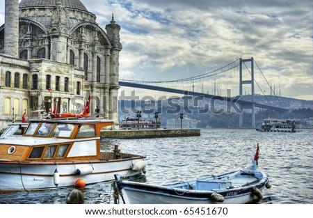 a beautiful view of Ortakoy Mosque and Bosphorus bridge in Istanbul, Turkey - stock photo
