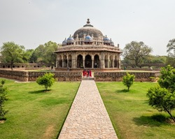 A beautiful view of the Isa Khan's Tomb New India on a sunny day