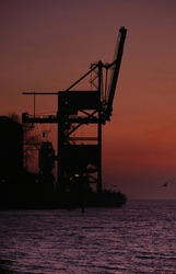 A beautiful view of the Silhouette of a Crane, Thermal Powerstation at the Elbe during sunrise