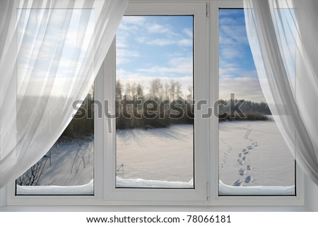 A beautiful view of winter from the window