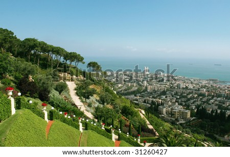 A beautiful view to Haifa, Israel.