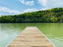 A beautiful, warm spring day of the docks on Cumberland River in Kentucky