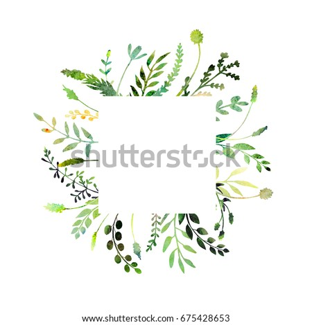 a beautiful watercolor frame; made of wild flowers and herbs; isolated on white background; with a square background to place texts, quotes or logos