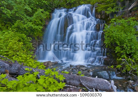 A Beautiful Waterfall At Mt Rainer