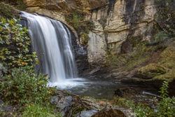 A beautiful waterfall in North Carolina during the fall
