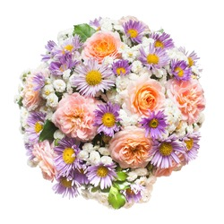 A beautiful wedding bouquet of flowers roses, chamomile and decorative yarrow. Love and relationships. Flora. Spring, summer. St. Valentine's Day. Easter. Flat, top. Object