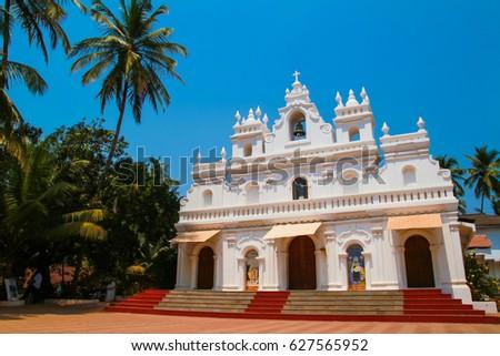 A beautiful white Church in Arambol Beach, Goa, India.