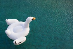 A beautiful white swan pool float on emerald clear water. (with copy space)