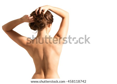 A beautiful woman, back view.  isolated on white background
