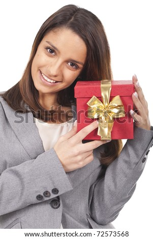 a beautiful woman holding a red gift box