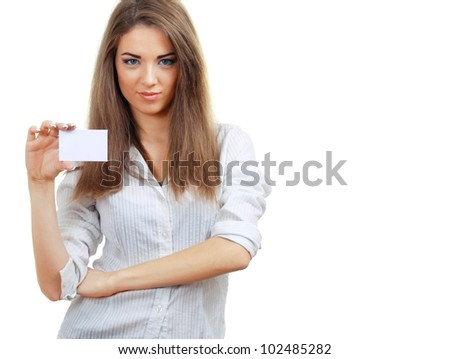 A beautiful woman holds out a business card Isolated on white background