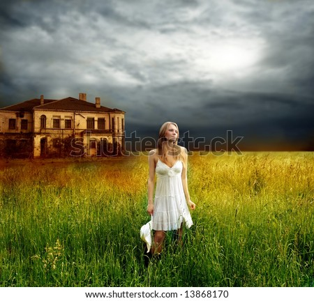 a beautiful woman in countryside