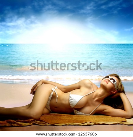 a beautiful woman on the beach
