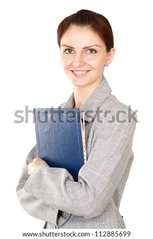 A beautiful woman with folders standing isolated on white background