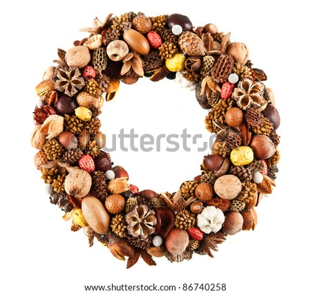 A beautiful wreath made of various dry fruits