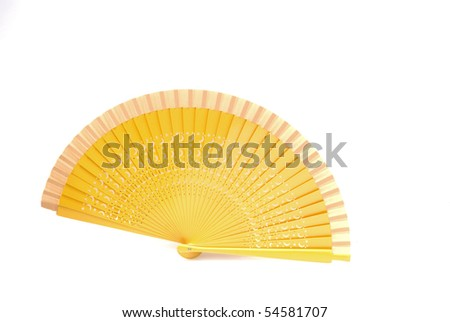 A beautiful yellow  fan from Spain isolated on white background