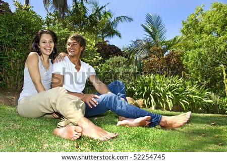 a Beautiful young couple having fun outdoors