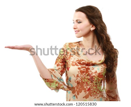A beautiful young girl holding something , isolated on white background