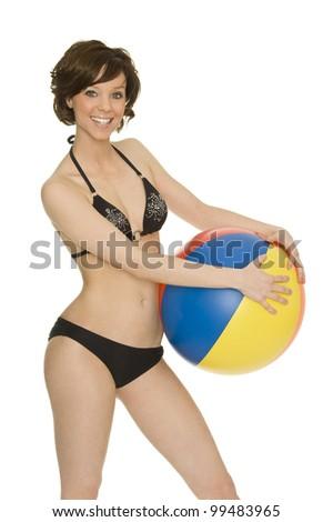 a beautiful young girl with bikini