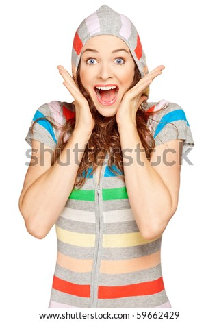 A beautiful young surprised woman looking at the camera. Isolated over white.