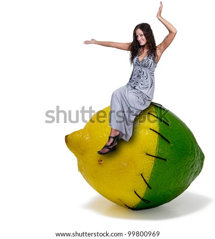 A beautiful young woman sitting on a lemon lime