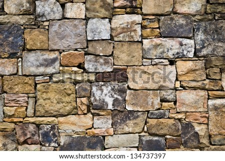 A beautifully designed rock wall. Many colors and sizes mixed for interest.