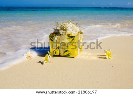 a beautifully wrapped present at water's edge on a tropical beach with plumeria blossoms