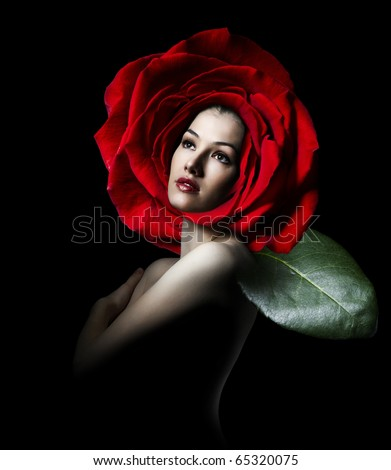 a beauty flower girl on the black background
