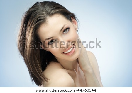 a beauty girl on the blue background