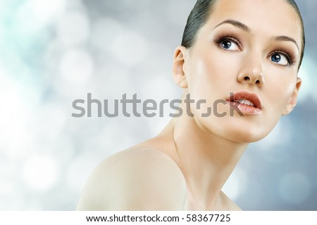 a beauty girl on the blur background