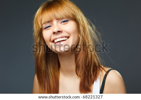 a beauty girl on the gray background