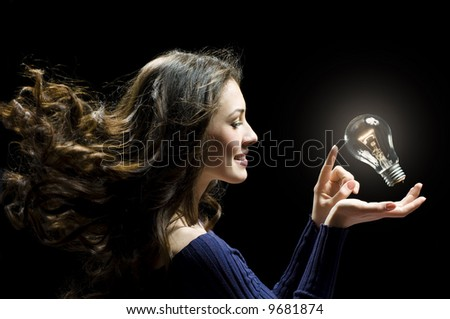a beauty lady with a lot of idias - stock photo
