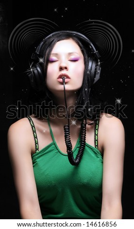 a beauty retro girl with dj headphones