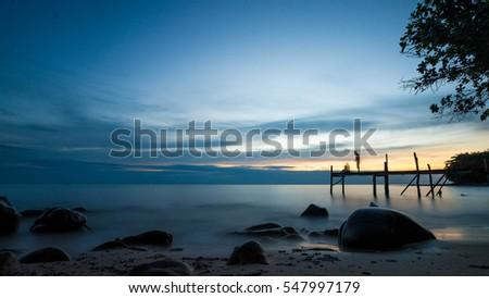 a beauty scenic sea stone sky...