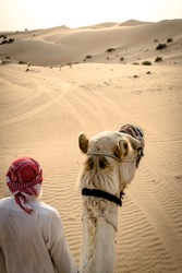 a bedouin and his camel walking through the desert of the empty quarter in abu dhabi, uae