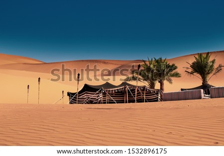 A Bedouin tent set up. Camping in the desert. UAE Abu Dhabi Dubai. Palm Trees in desert oasis