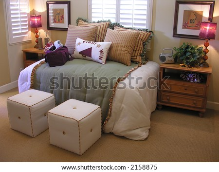 A bedroom interior with a girl cheerleader theme