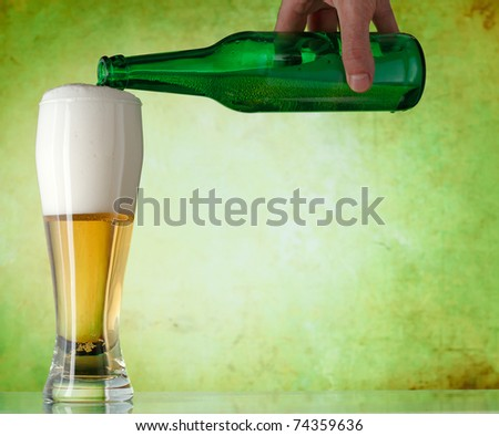 A beer being poured into a glass