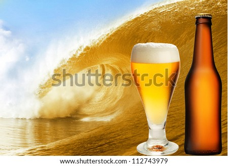 A beer glass and bottle over beer wave
