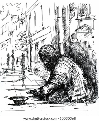 A beggar on the street.Picture I have created with pen