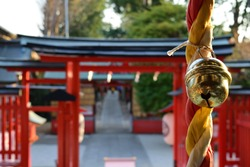 A bell of Japanese shrine. When visit a shrine, people ring a bell to purify themselves.