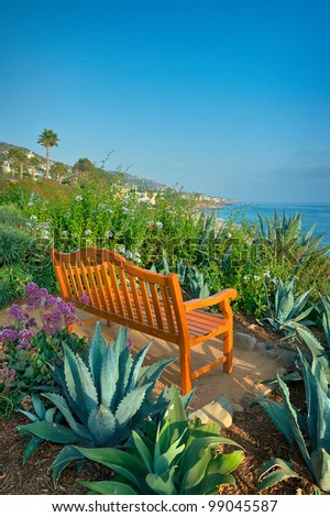 A Bench Overlooking the Pacific Ocean in California