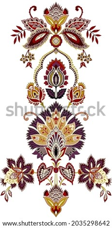 A beutiful Digital Motif Design Illustration Artwork for textile print For Textile Branding with watercolor flowers roses, floral texture. Design for cover, fabric, textile, wrapping paper